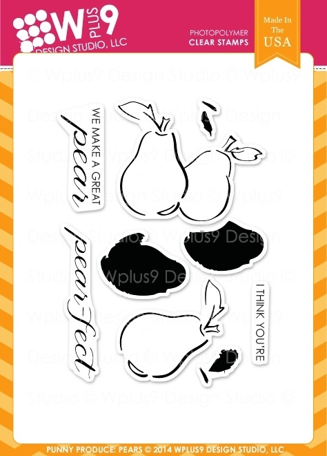 Wplus9 PUNNY PRODUCE PEARS Clear Stamps CL-WP9PUPR zoom image