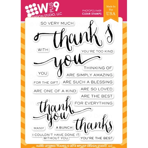 Wplus9 HAND LETTERED THANKS Clear Stamps CL-WP9HLT Preview Image