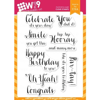 Wplus9 STRICTLY SENTIMENTS 5 Clear Stamps CL-WP9SS5