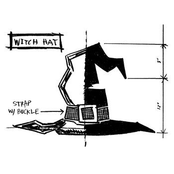 Tim Holtz Rubber Stamp WITCH HAT SKETCH Stampers Anonymous P1-2412