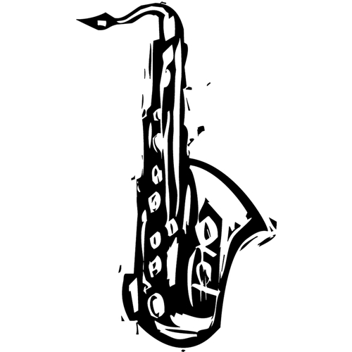 Tim Holtz Rubber Stamp CARVED SAXOPHONE Stampers Anonymous M1-2426 Preview Image
