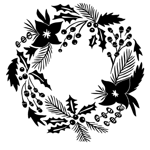 Tim Holtz Rubber Stamp STYLED POINSETTIA WREATH Stampers Anonymous P1-2460 Preview Image