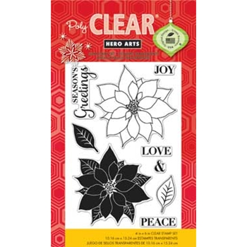 Hero Arts Clear Stamps PEACE POINSETTIAS cl796 Holiday *