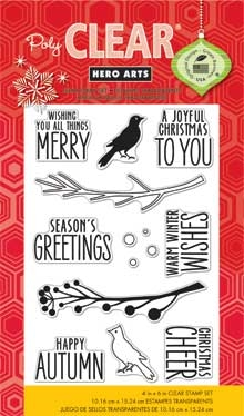 Hero Arts Clear Stamps BIRD AND BRANCH CHRISTMAS cl801 Holiday  zoom image