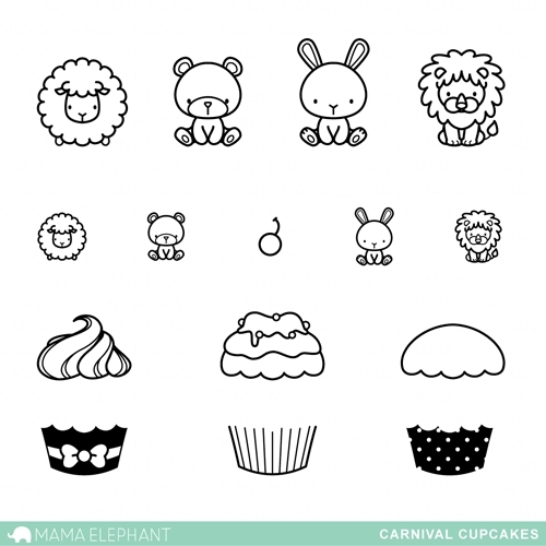 Mama Elephant Clear Stamps CARNIVAL CUPCAKES zoom image