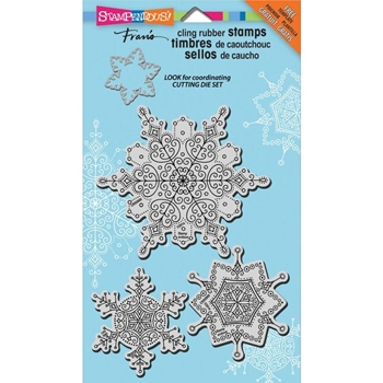 Stampendous Cling Stamps JUMBO DELICATE SNOW SET With Stencil UM Rubber CRS5069