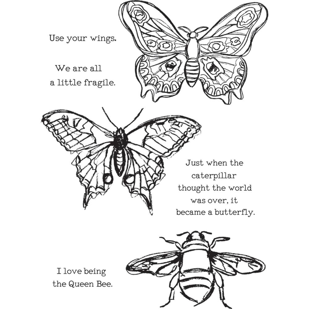 Dina Wakley SCRIBBLY INSECTS Media Cling Rubber Stamp MDR44499 zoom image