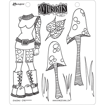 Dyan Reaveley SHROOMS Cling Stamp Set Dylusions DYR44529