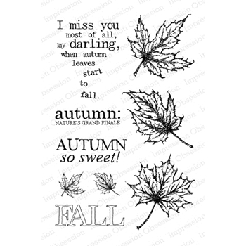 Impression Obsession Clear Stamps AUTUMN LEAVES CL541*