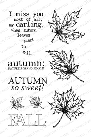 Impression Obsession Clear Stamps AUTUMN LEAVES CL541 zoom image