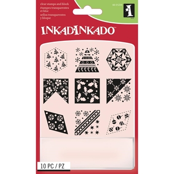 Inkadinkado Inchies CHRISTMAS QUILT Clear Stamp and Block Set 60-31234