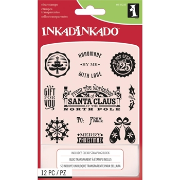 Inkadinkado Inchies HOLIDAY TAGS Clear Stamp and Block Set 60-31235