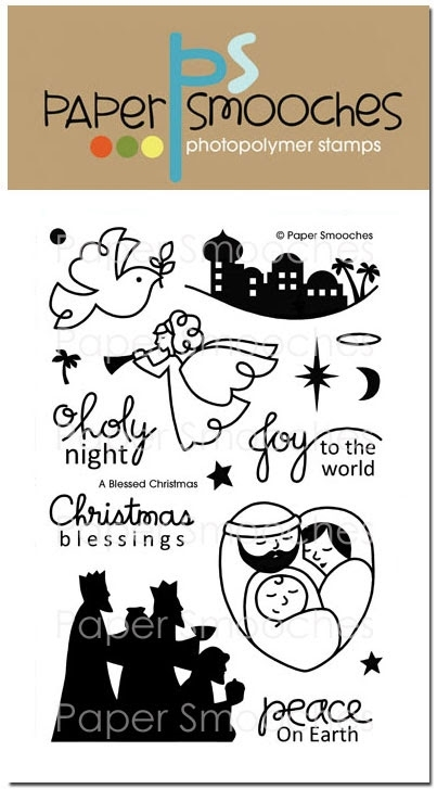 Paper Smooches A BLESSED CHRISTMAS Clear Stamps SES220 zoom image