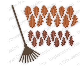 Impression Obsession Steel Dies OAK LEAVES AND RAKE DIE201-K zoom image