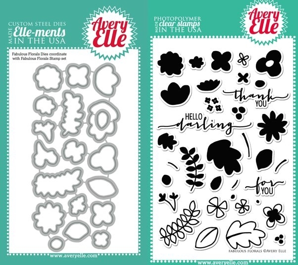 Avery Elle Clear Stamp and Die SET-14-05 FABULOUS FLORALS Set * zoom image