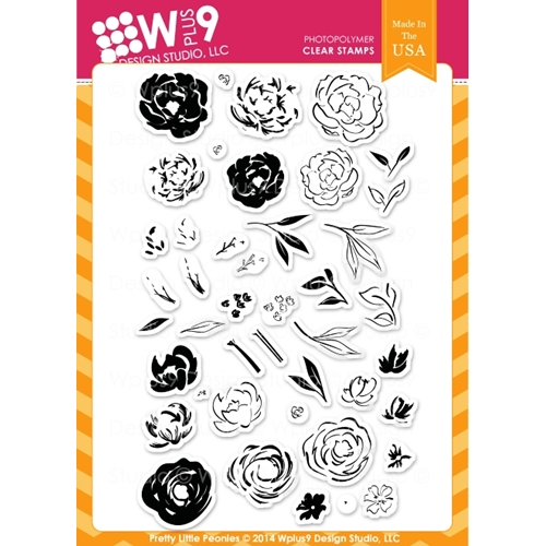 Wplus9 PRETTY LITTLE PEONIES Clear Stamps CL-WP9PLP Preview Image
