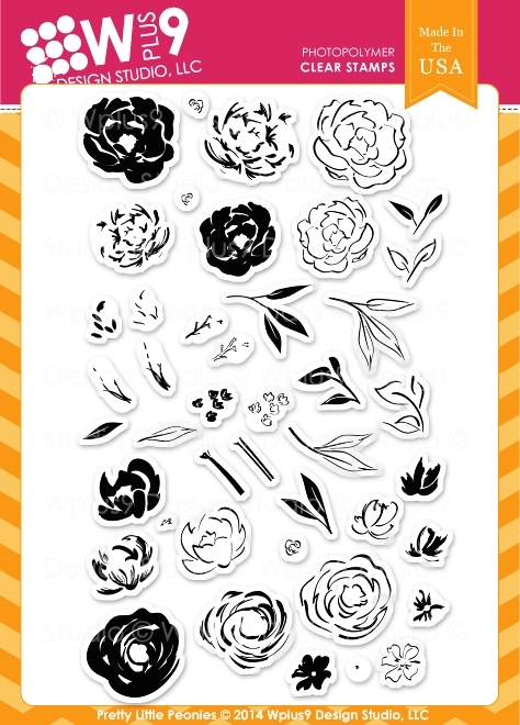 Wplus9 PRETTY LITTLE PEONIES Clear Stamps CL-WP9PLP zoom image