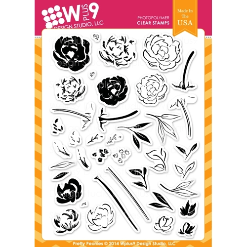 Wplus9 PRETTY PEONIES Clear Stamps CL-WP9PRPE Preview Image