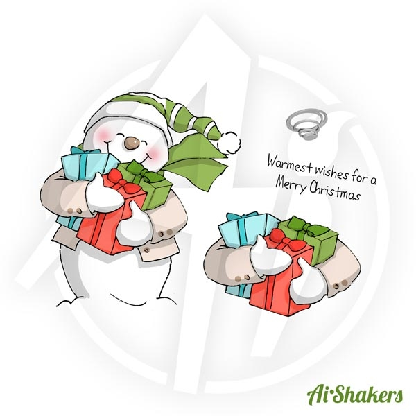 Art Impressions SNOWMAN SHAKER Shakers Cling Rubber Stamps 4514 zoom image