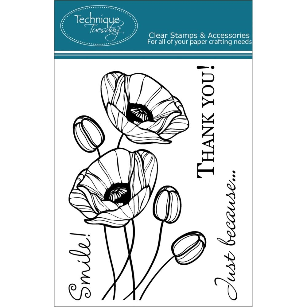 Technique Tuesday BUDDING POPPIES Clear Stamps 00751 zoom image