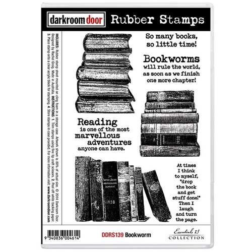 Darkroom Door Cling Stamp BOOKWORM Rubber UM DDRS139 Preview Image