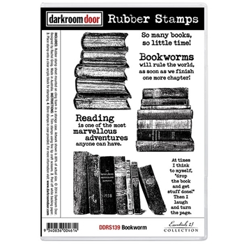 Darkroom Door Cling Stamp BOOKWORM Rubber UM DDRS139