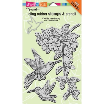 Stampendous Cling Stamps HUMMINGBIRDS With Stencil UM Rubber CRS5072