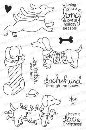 Newton's Nook Designs HOLIDAY HOUNDS Clear Stamp Set 20141001 zoom image