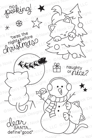 Newton's Nook Curious Christmas Clear Stamp Set