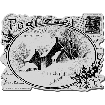 Stampendous Cling Stamp SNOWY POSTCARD Rubber UM crr143