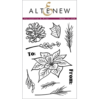 Altenew POINSETTIA AND PINE Clear Stamp Set ALT1014