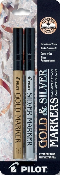 Pilot GOLD AND SILVER METALLIC MARKER Extra Fine 2 Pack 41400 zoom image