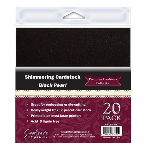 Crafter's Companion BLACK PEARL 6 x 6 Cardstock Pack CC-SC66-BLK Preview Image