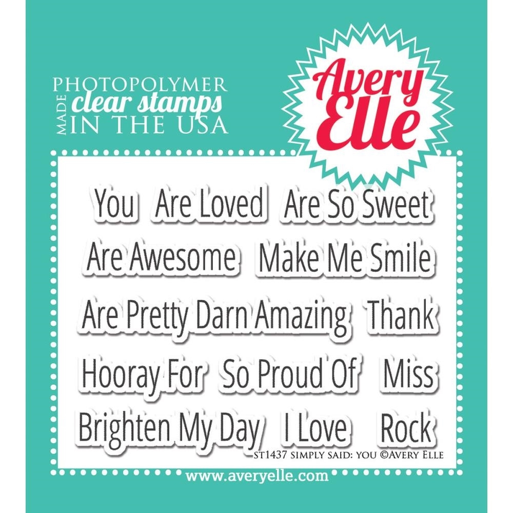 Avery Elle Clear Stamp Set SIMPLY SAID YOU Set ST-14-37 zoom image