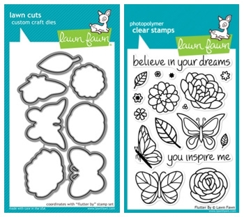 Lawn Fawn SET LF214FB BUTTERFLIES Clear Stamps And Dies*