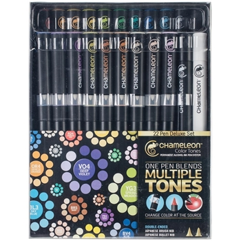 Chameleon 22 PENS DELUXE SET Color Tones Permanent Alcohol Ink Pen System CT2201