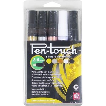 Sakura 2MM METALLIC ASSORTMENT PenTouch Permanent Paint Markers 42591
