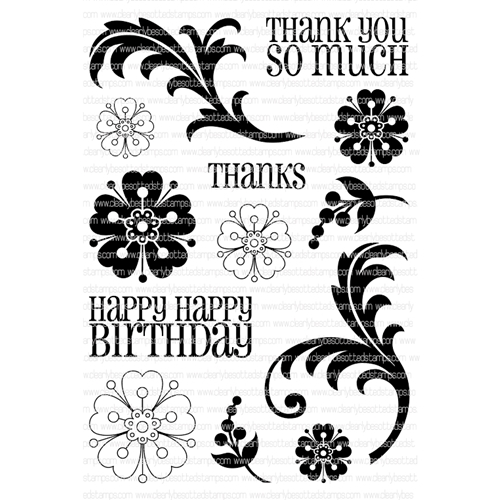 Clearly Besotted FLOWERS AND FLOURISHES Clear Stamp Set*  Preview Image