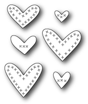 Memory Box CROSS STITCHED HEARTS Craft Die 99125 Preview Image