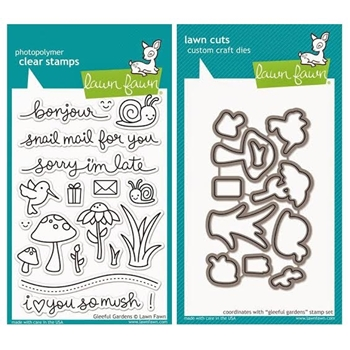 Lawn Fawn SET LF215GG LOVE YOU SO MUSH Clear Stamps And Dies*