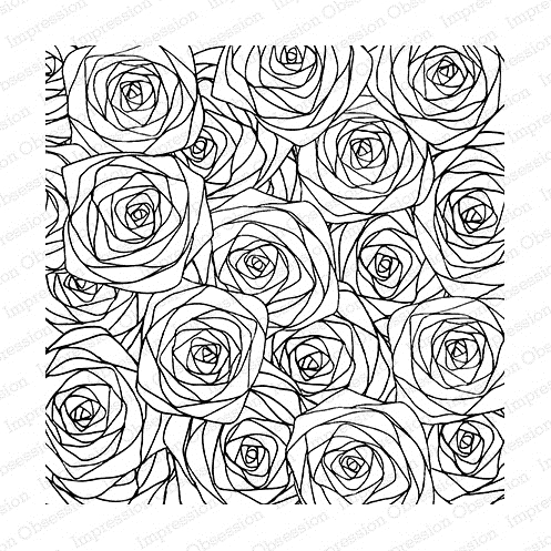 Impression Obsession Cling Stamp SKETCHED ROSES Set CC187 zoom image
