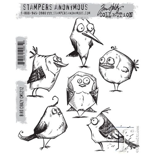 Tim Holtz Cling Rubber Stamps BIRD CRAZY Cms212 Preview Image Shadow
