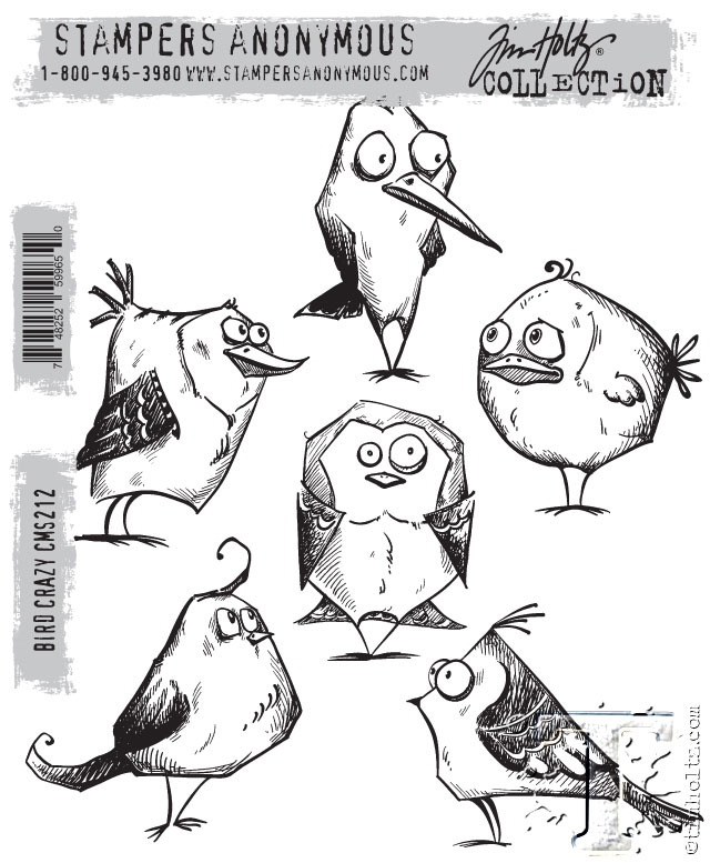 Tim Holtz Cling Rubber Stamps BIRD CRAZY cms212 zoom image