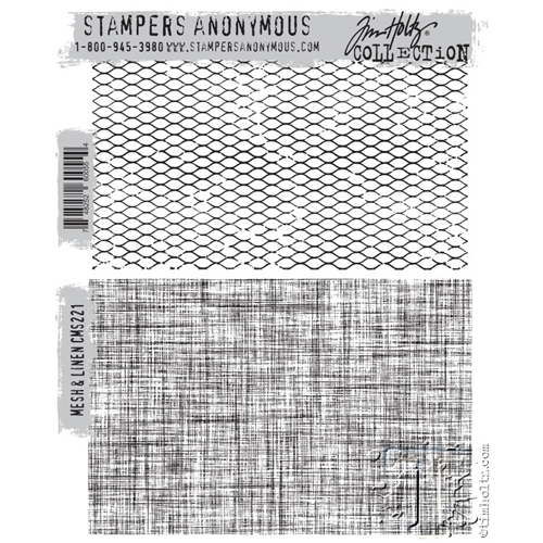 Tim Holtz Cling Rubber Stamps MESH AND LINEN CMS221 Preview Image