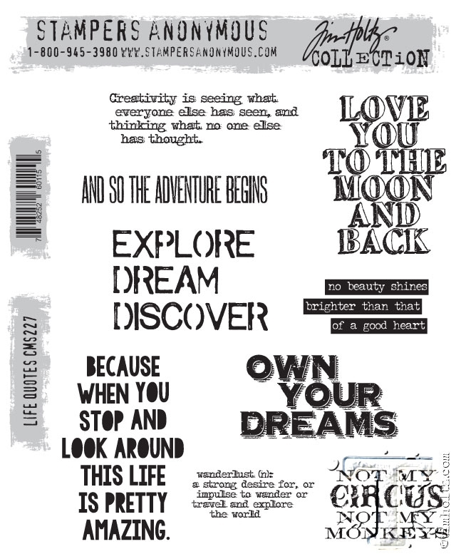 Tim Holtz Cling Rubber Stamps LIFE QUOTES CMS227 zoom image