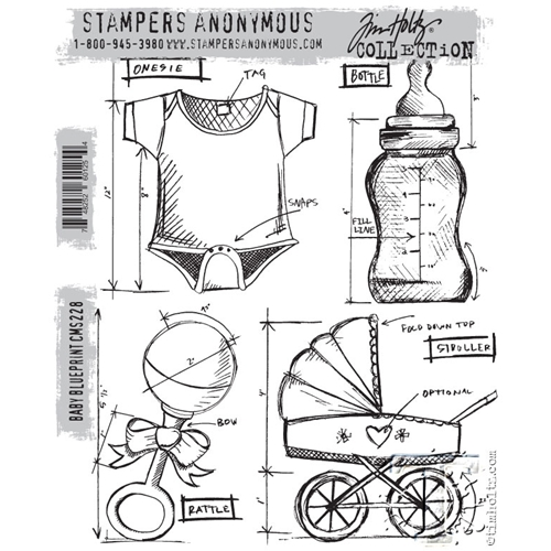 Tim Holtz Baby Blueprint Cling Stamp Set