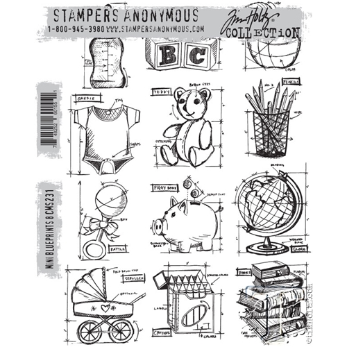 Tim Holtz Cling Rubber Stamps MINI BLUEPRINTS 8 CMS231 Preview Image