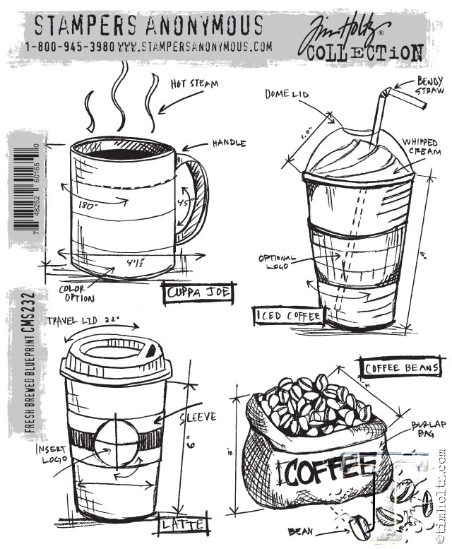 Tim Holtz Cling Rubber Stamps FRESHLY BREWED BLUEPRINT CMS232 zoom image