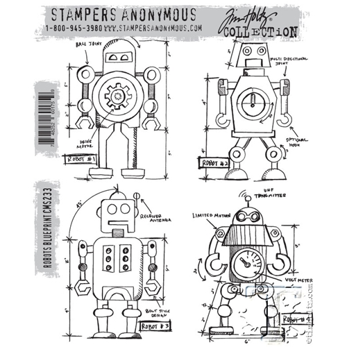 Tim Holtz Cling Rubber Stamps ROBOTS BLUEPRINT CMS233 Preview Image