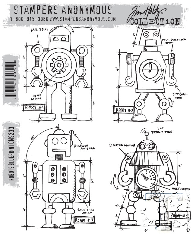 Tim Holtz Cling Rubber Stamps ROBOTS BLUEPRINT CMS233 zoom image